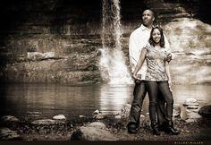 waterfall engagement photo