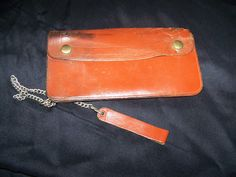 Vintage Men's Brown leather wallet with chain and by civilwarlady, $19.95