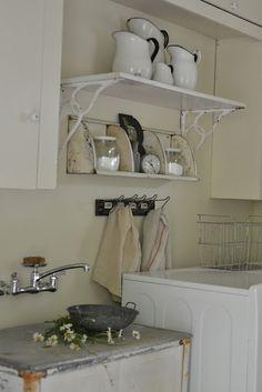 shelf above laundry