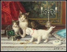 Antique Oil Painting of Cats or Kittens by Jules LeRoy 1833-1865 | eBay