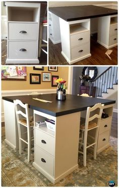 DIY Pottery Barn Inspired Four Station Desk Free Plan Instructions - Back-To-School Kids #Furniture DIY Ideas Projects