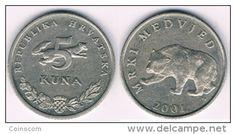 Croatie: 5 kuna Mrki medvjed KM# 11 2001  VF/TTB