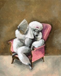 Queen Isabelle Spoiled Poodle Art  dog art by amberalexander, $20.00