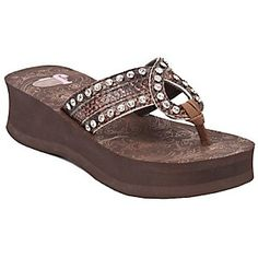 Justin Riley Ladies Brown Snake Print w/ Loop Jeweled Flip-Flop by M