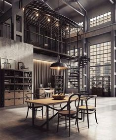 34 Nice Industrial Loft Decor Ideas For Your Interior Design - Loft living has become the home of choice for all kinds of people from young business professionals to middle-aged empty nesters to older retired coup. Industrial Interior Design, Industrial Apartment, Vintage Industrial Furniture, Industrial House, Industrial Interiors, Modern Industrial, Industrial Office, Industrial Bedroom, Industrial Lighting