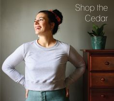 The Cedar Sweater PDF Sewing Pattern is a cropped sweatshirt designed to be paired with your favorite high waisted pants and skirts. Sporty Look, Fall Sweaters, Pdf Sewing Patterns, French Terry, Stretch Fabric, T Shirts For Women, Stylish, Shopping, Knits