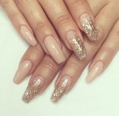 glitter | nails | nude