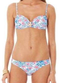 Lilly Pulitzer Peachie Convertible Bandeau Bikini Top in She She Shells