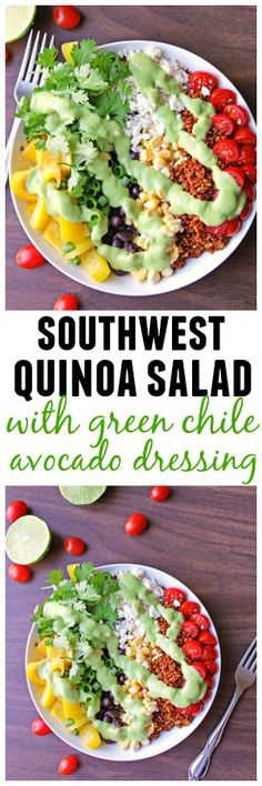 Gorgeous Southwest quinoa salad with green chile avocado dressing | @Rhubarbariansbl // Skip cheese and use a vegan sour cream to make this dish vegan