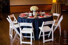 Shilshole Bay Beach Club Wedding Tasting Event - nautical wedding table in blue, red & white