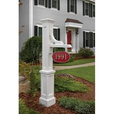 The Mayne Woodhaven sign post and the Whitehall Hanging Address Plaque Package offer a unique personalized touch to any home. Exclusive to Exterior Solutions, this address post and plaque combination is available in a variety of unique colors. Old Wood Signs, Driveway Entrance, Driveway Sign, Brick Columns Driveway, Driveway Apron, Farm Entrance, Driveway Lighting, Mailbox Landscaping, Landscaping Work
