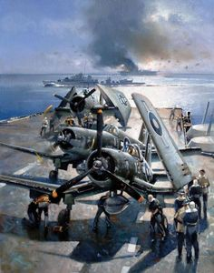Corsairs and an Avenger on the deck of a British Pacific Fleet carrier, artwork by Anthony Cowland.