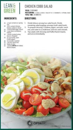 Chicken cobb salad take shape for life, diet recipes, medifast recipes, chicken recipes Lean Protein Meals, Lean Meals, Medifast Recipes, Diet Recipes, Cooking Recipes, Healthy Recipes, Chicken Recipes, Salad Recipes, Recipes