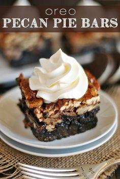 Ooey, gooey pecan pie bars with a decadent Oreo crust! A genius twist on a classic pie!