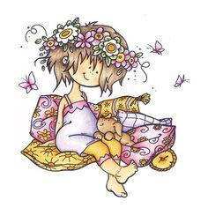 Tampon Fille et cousin fleur. Petit Chien