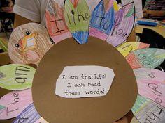 Kindergarten Fall Fun!  Writing sight words on turkey feathers.