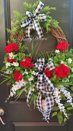 Spring Wreath, Summer Wreath, Welcome Wreath, Red Geranium Wreath, Mother's Day Wreath, SassyDoors Wreath, #wreaths Summer Door Wreaths, Easter Wreaths, Holiday Wreaths, Holiday Decor, Spring Wreaths, Christmas Decor, Wreath Crafts, Diy Wreath, Grapevine Wreath