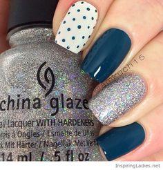 Navy nails with polka dots and glitter   Inspiring Ladies