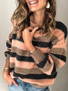 Load image into Gallery viewer, Autumn Striped Pullover Sweaters Ärmelloser Pullover, Pullover Sweaters, Women's Sweaters, Raglan, Casual Sweaters, Sweaters For Women, Striped Sweaters, Winter Mode, Look Fashion