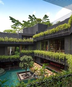 CHANG architects creates stepped garden on the roof of this house in singapore garden CHANG architects creates stepped garden on roof of house in singapore Architecture Design, Green Architecture, Sustainable Architecture, Residential Architecture, Contemporary Architecture, Contemporary Houses, Roof Design, Exterior Design, Cornwall Garden