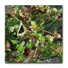 Froggy Succulents Tile Coaster on CafePress.com