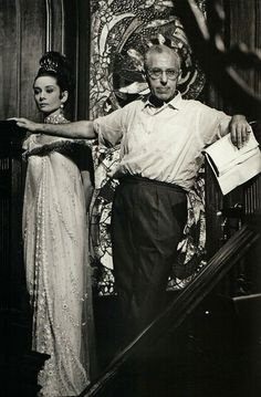 George Cukor with Audrey Hepburn on the set of My Fair Lady (1964).