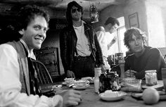 "Grant and McGann on set in a Cumbrian cottage during the shooting of ""Withnail and I in the Penrith Tea Rooms."""