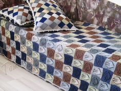 """Set for children's bedroom """"Squares"""" (knitted baby blanket and pillows - hand knit home decor - handmade cotton blanket - entrelac cotton pillow - knit bedroom set - knitted afghans - hand knit throw - knit quilt and pillowcase)"""