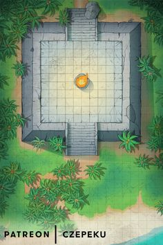 Jungle Ziggurat coastal by Czepeku d&d dnd maps med Rainforest Tribes, Dungeon Maps, Dungeon Tiles, Diorama, Fantasy Map, Tabletop Rpg, Us Map, Dungeons And Dragons, Game Art