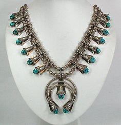 Vintage Squash Blossom Necklace | Designer ?. Sterling silver and turquoise.