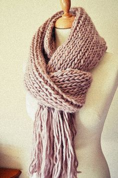 Chunky Knit Scarf Extra Long Wide Tassels Pure Wool - Made to Order - Choose Your Color