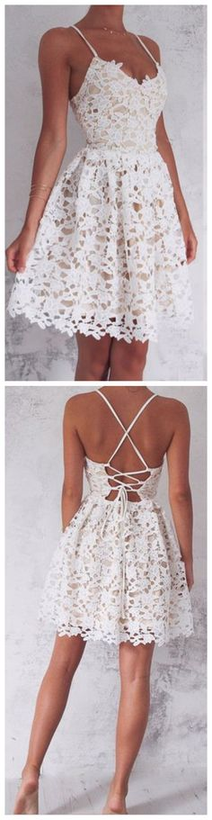 A-Line Spaghetti Straps Lace-Up White Lace Short Homecoming