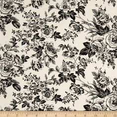 Quartette Collection Large Floral Cream/Black from @fabricdotcom Designed by Faye Burgos for Marcus Fabrics, this fabric is perfect for quilting, apparel and home decor accents. Colors include black and cream.