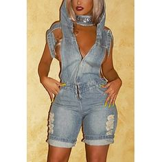 USD12.99Sexy Hooded Collar Short Sleeves Hollow-out Blue Denim One-piece Loose Jumpsuits