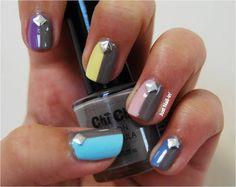 Pastels and Studs. Studded Nails, Pastel Nails, Pretty Nails, Pastels, Nailart, Studs, Nail Designs, Nail Polish, Grey