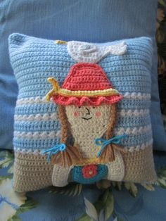 By the Sea Pillow. http://www.redheart.com/free-patterns/sea-pillow. I used some different yarn, so she came out a little bigger, but still cute!