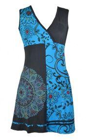 Černo-tyrkysové šaty bez rukávu s květinovým potiskem a výšivkou ... 3fc497241e