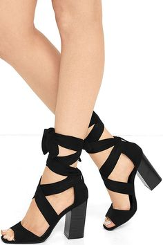 9388a4b1d4df The Dearest Black Suede Lace-Up Heels are the shoes we hold nearest to our
