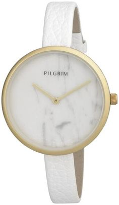 Official online stockists of Pilgrim Jewellery Pilgrim Jewellery, White Leather, Halo, Jewelry Watches, Jewelry Design, Clock, Danish, Marble, Pretty