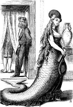 A mermaid from Punch, 1868 Vintage Mermaid, Mermaid Art, Mermaid Poems, Mermaid Paintings, Tattoo Mermaid, Steampunk Cosplay, Steampunk Fashion, Mermaid Illustration, Illustration Art