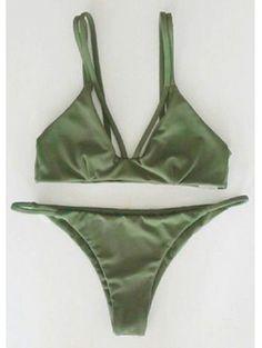 Alluring Spaghetti Strap Solid Color Women's Bikini Set GREEN: Bikinis | ZAFUL