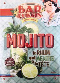 Mojito – Bar Cubain – Le Rhum Qui Menthe à La Tête : Plaque décorative rétro en métal représentant un cocktail mojito. Idéal pour créer une ambiance cubaine vintage dans votre intérieur ou pour la décoration d'un bar à tapas, restaurant ou café latino.