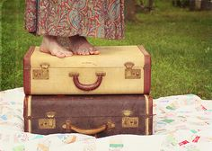 bench monday {vintage suitcase edition} by polkadotandplaid, via Flickr
