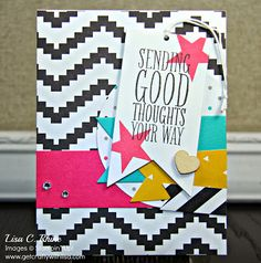 www.getcraftywithlisa.com:  Sending Good Thoughts Card featuring Kaleidoscope Designer Series Paper, Perfect Pennants Stamp Set and Banners Framelits Dies.