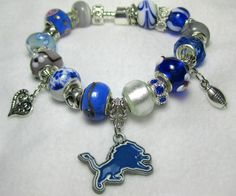 Detroit Lions European Style Bracelet by MyTeamMyBeads on Etsy