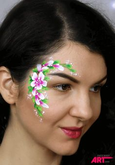TOP 10 must-learn face painting designs (and more) - International Face Painting School Face Painting Flowers, Eye Face Painting, Adult Face Painting, Belly Painting, Face Painting Designs, Paint Designs, Face Art, Face Paintings, Bodysuit Tattoos