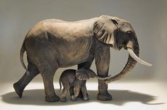 Clay Elephant Sculptures by Nick Mackman http://clayanimalsculptures.co.uk/project/elephant-sculptures