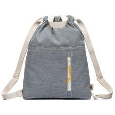 04f415a685ec4 Modern railroad stripe indigo 100% cotton denim drawstring backpack with  handles
