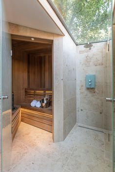 Outdoor Sauna Design Are you looking for some really cool comfort zone in your house? We welcome you to our latest collection of 15 Fresh Sauna Bathroom Ideas. Sauna Steam Room, Sauna Room, Home Steam Room, Bathroom Spa, Bathroom Doors, Bathroom Ideas, Bathroom Wallpaper, Relaxing Bathroom, Bold Wallpaper