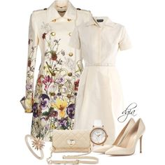 Shirt Dress for Spring! by dgia on Polyvore featuring Rochas, Gucci, Gianvito Rossi, DKNY, Timex and Daisy Jewellery